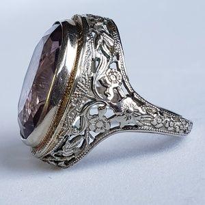 14k Antique Filigree Amethyst Ring